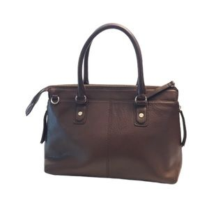 Lands End brown leather bag satchel purse